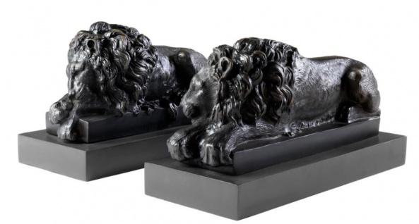 Casa Padrino Luxus Löwen Bronzefiguren 2er Set - Edel & Prunkvoll