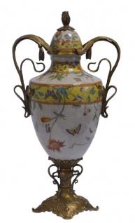 Casa Padrino Porzellan Vase mit Deckel und 2 Griffen H. 44, 2 cm - Luxus Vase - Vorschau