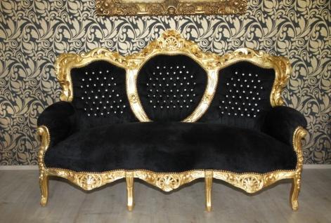 "Casa Padrino Barock 3er Sofa "" King"" Schwarz/Gold mit Bling Bling Glitzersteinen Möbel"