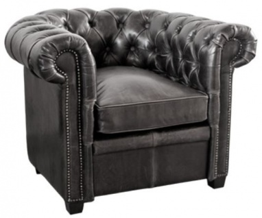 Casa Padrino Luxus Echtleder Sessel Vintage Schwarz 95 x 88 x H. 73 cm - Chesterfield Möbel