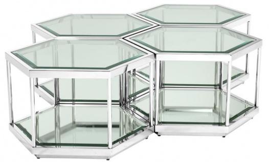 Casa Padrino Luxus Couchtisch / Wohnzimmertisch 4er Set Silber 60 x 52 x H. 36 cm - Wohnzimmermöbel