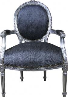 Casa Padrino Luxus Barock Medaillon Salon Stuhl Grau / Antik Silber - Möbel Antik Stil