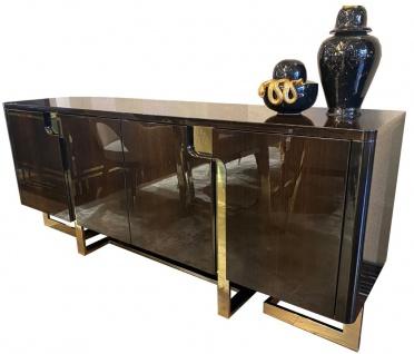Casa Padrino Luxus Art Deco Sideboard Dunkelbraun / Gold 220 x 55 x H. 90 cm - Edler Schrank mit 4 Türen - Art Deco Wohnzimmer Möbel