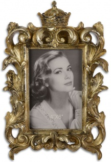 Casa Padrino Barock Tisch-Bilderrahmen Antik Gold 18, 5 x H. 28 cm - Prunkvoller Bilderrahmen mit Krone