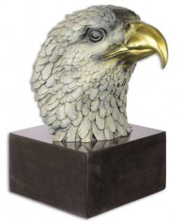 Casa Padrino Luxus Bronze Skulptur Adler Kopf Mehrfarbig / Schwarz 19, 6 x 28 x H. 31, 3 cm - Bronzefigur mit Marmorsockel - Deko Accessoires
