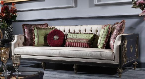 Casa Padrino Luxus Barock Wohnzimmer Sofa Creme / Blau / Schwarz / Gold 238 x 92 x H. 86 cm - Prunkvolle Barock Möbel