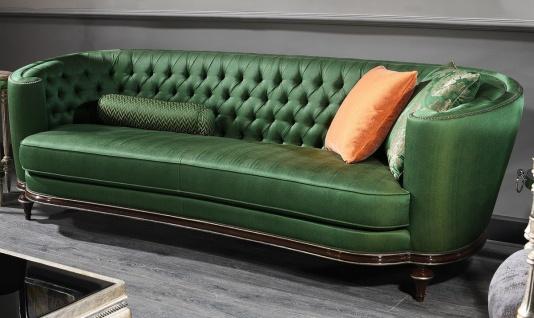 Casa Padrino Luxus Barock Sofa Grün / Braun / Silber - Handgefertigtes Wohnzimmer Sofa - Barock Wohnzimmer Möbel