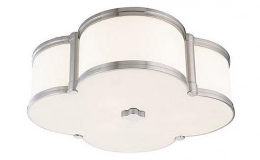 Casa Padrino Luxus Deckenleuchte Silber / Weiß 42, 6 x 42, 6 x H. 14 cm - Deckenlampe in Kleeblatt Form - Luxus Qualität