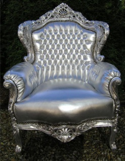 Casa Padrino Barock Sessel King silber / silber in Lederoptik - Luxus Barock Sessel