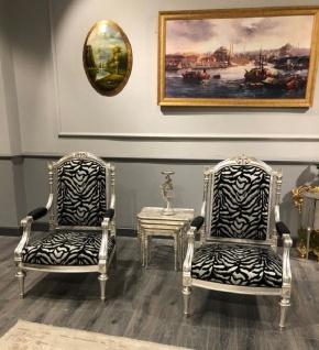 Casa Padrino Luxus Barock Sessel Schwarz / Silber / Antik Silber - Wohnzimmer Sessel im Barockstil - Barock Wohnzimmer Möbel - Vorschau 2