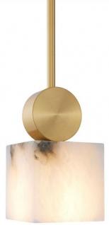 Casa Padrino Luxus Hängeleuchte Alabaster / Messing 12 x 12 x H. 24 cm - Luxus Kollektion