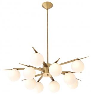 Casa Padrino Luxus Kronleuchter Antik Messingfarben / Weiß Ø 90 x H. 20 cm - Luxus Möbel