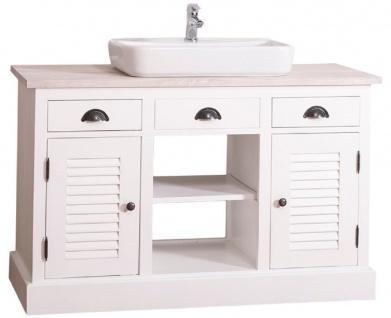 Casa Padrino Landhausstil Waschbeckenschrank Weiß / Hellgrau 120 x 51 x H. 75 cm - Waschtisch mit 2 Türen und 3 Schubladen - Vorschau 2