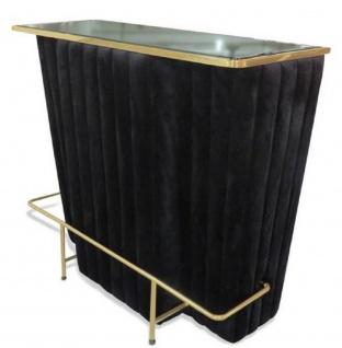 Casa Padrino Luxus Bartresen Schwarz / Gold 120 x 48 x H. 105 cm - Theke mit Glassplatte und Fußablage - Barschrank - Barmöbel - Luxus Qualität