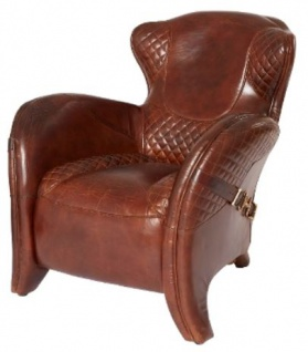 Casa Padrino Luxus Art Deco Echtleder Sessel Dunkelbraun 79 x 85 x H. 85 cm - Luxus Kollektion