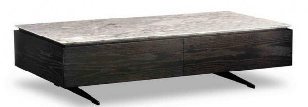 Casa Padrino Luxus Couchtisch mit 2 Schubladen Schwarz / Weiß 150 x 80 x H. 38 cm - Wohnzimmertisch mit Marmorplatte - Luxus Möbel