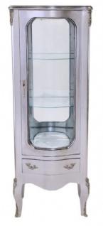 Casa Padrino Barock Vitrine Silber 130 cm - Vitrinenschrank - Wohnzimmerschrank