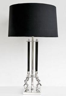 Casa Padrino Luxus Tischleuchte Silber / Schwarz 22 x 20 x H. 91 cm - Messing Tischlampe mit Lampenschirm - Vorschau
