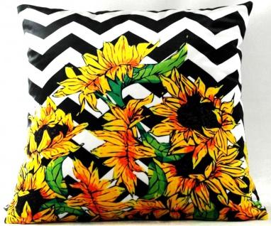 Casa Padrino Luxus Deko Kissen Virginia Sunflowers Schwarz / Weiß / Mehrfarbig 45 x 45 cm - Feinster Samtstoff - Wohnzimmer Kissen