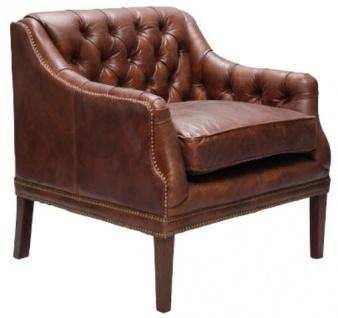 Casa Padrino Echtleder Wohnzimmer Sessel Dunkelbraun 80 x 77 x H. 85 cm - Luxus Wohnzimmermöbel