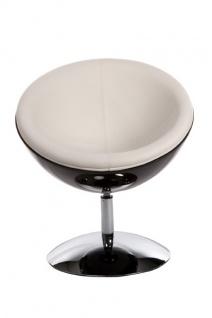 Casa Padrino Designer Drehsessel, Schwarz-Hochglanz/Weiß Lounge Sessel - Moderner Stuhl