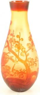 Casa Padrino Luxus Glas / Cameoglas Vase Kirschblüte Mehrfarbig Ø 16, 2 x H. 37, 1 cm - Deko Blumenvase