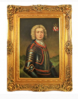 Handgemaltes Barock Öl Gemälde Ritter Gold Prunk Rahmen 130 x 100 x 10 cm - Massives Material