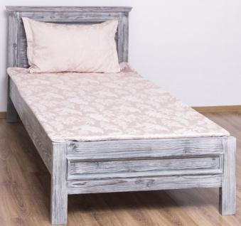 Casa Padrino Landhausstil Massivholz Bett Antik Grau 90 x 200 x H. 93 cm - Massivholz Einzelbett - Landhausstil Schlafzimmer Möbel