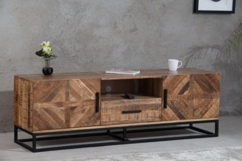 Casa Padrino Luxus Wohnzimmerschrank Naturfarben / Schwarz 160 x 42 x H. 52 cm - TV Schrank mit 2 Türen und 1 Schublade