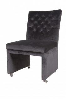 Casa Padrino Designer Esszimmer Stuhl / Sessel ModEF 320 Schwarz Samt - Hoteleinrichtung - Sessel auf Rollen