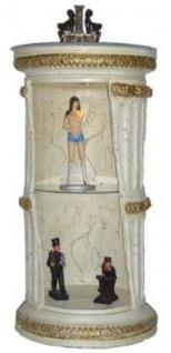 Casa Padrino Barock Säulenschrank Weiß / Gold H. 120 cm - Runder Vitrinenschrank - Beleuchteter Wohnzimmerschrank mit Glasregal - Barock Möbel