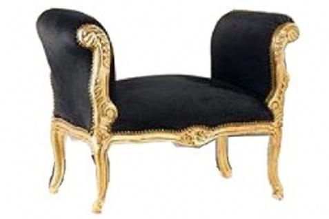 Casa Padrino Barock Schemel Hocker Schwarz / Gold - Sitzbank