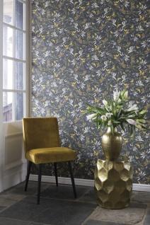 Casa Padrino Luxus Papiertapete Pflanzen Grau / Mehrfarbig - 10, 05 x 0, 53 m - Tapete Mustertapete Botanisch Blumen - Vorschau 2