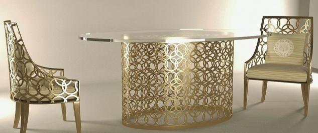 Casa Padrino Luxus Gartenmöbel Set Creme / Gold - 1 ovaler Esstisch mit Glasplatte & 6 Stühle mit Kissen - Handgefertigte Garten Terrassen Hotel Möbel - Luxus Qualität