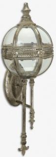 Casa Padrino Jugendstil Wandlaterne Antik Silber 20 x 20 x H. 62 cm - Antik Stil Wandkerzenleuchter - Barock & Jugendstil Deko Accessoires