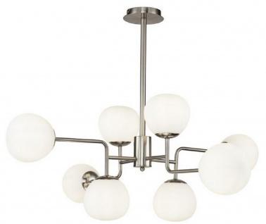 Casa Padrino Kronleuchter Silber / Weiß Ø 96 x H. 26, 5 cm - Moderner Kronleuchter mit runden Mattglas Lampenschirmen