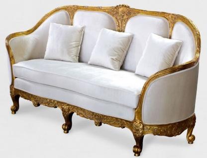 Casa Padrino Luxus Barock Wohnzimmer Sofa Weiß / Gold - Edles Handgefertigtes Antik Stil Sofa - Barock Wohnzimmer Möbel - Vorschau 2