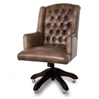 Casa Padrino Luxus Echtleder Chefsessel Büro Stuhl Medium Braun Drehstuhl Schreibtisch Stuhl - Chefbüro