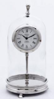 Casa Padrino Luxus Tischuhr Silber H. 46 cm - Dekorative Messing Uhr