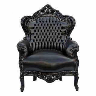 Casa Padrino Barock Sessel King schwarz / schwarz in Lederoptik 85 x 85 x H. 120 cm