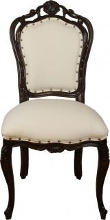 Casa Padrino Luxus Barock Esszimmer Stuhl in leicht Creme/Braun - Hotel Barock Stuhl - Luxus Qualität