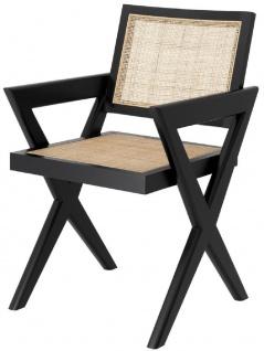 Casa Padrino Luxus Esszimmerstuhl Schwarz / Naturfarben 53 x 57 x H. 84, 5 cm - Massivholz Stuhl mit Armlehnen und handgewebtem Rattangeflecht - Luxus Esszimmer Möbel
