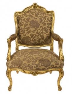 Casa Padrino Barock Wohnzimmer Set Strassbourg Gold Muster / Antik Stil Gold - Sofa + 2 Sessel - Vorschau 2