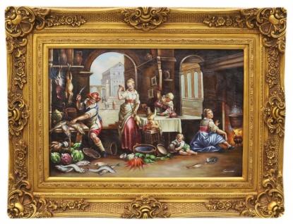 Casa Padrino Barock Öl Gemälde Küche Gold Prunk Rahmen 130 x H. 100 cm - Möbel im Barockstil
