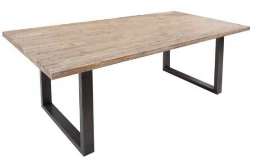 Casa Padrino Teakgrau Massivholz Esstisch Akazie / Eisengestell 160 cm - Esszimmer Tisch Massiv