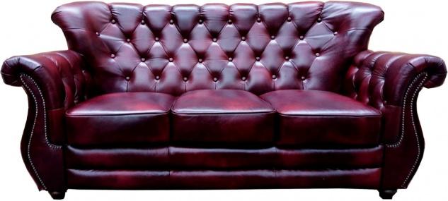 Casa Padrino Luxus Chesterfield Leder 3er Sofa Bordeauxrot - Echtleder Wohnzimmer Sofa - Chesterfield Wohnzimmer Möbel