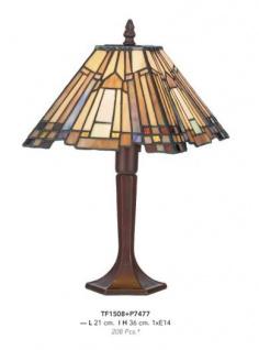 Casa Padrino Tiffany Tischleuchte Durchmesser 21cm, Höhe 36cm Mod9 Mosaik Leuchte Lampe Hockerleuchte