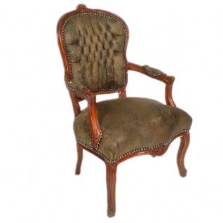 Casa Padrino Antik Stil Salon Stuhl Braun Lederoptik 60 x 50 x H. 93 cm - Barock Möbel