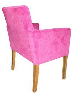 Casa Padrino Luxus Esszimmer Stuhl Pink / Holz Farbig mit Armlehnen - Vorschau 2