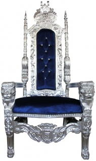 Casa Padrino Barock Thron Sessel Silber / Blau mit Bling Bling Glitzersteinen Königssessel- Hochzeitssessel - Riesensessel